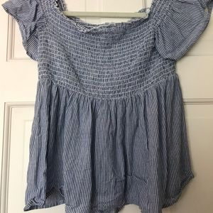 american eagle blue ribbed off the shoulder top